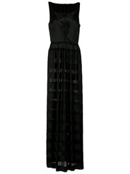 A La Garconne Pleated Gown Polyester Acetate Black