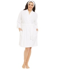 Jockey Plus Size French Terry Robe With Spa Headband White
