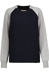 Current Elliott Two Tone Cable Knit Wool And Cotton Blend Sweater Midnight Blue