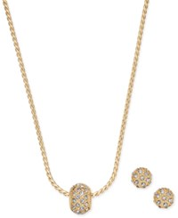 Charter Club Gold Tone Pave Ball Pendant Necklace And Stud Earrings Set Only At Macy's