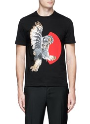 Neil Barrett Mechanical Owl Print Cotton T Shirt Black