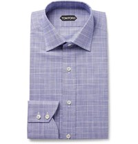 Tom Ford Navy Slim Fit Prince Of Wales Checked Cotton Poplin Shirt Blue