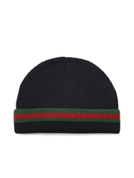 Gucci Webbed Hem Wool And Silk Blend Hat