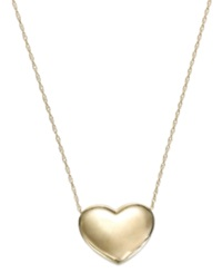 Signature Gold Puffed Heart Pendant Necklace In 14K Gold Yellow Gold