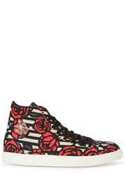 Charlotte Olympia Rose Print Canvas Hi Top Trainers Red