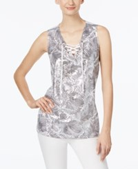 Inc International Concepts Embellished Lace Up Tank Top Only At Macy's Bright White