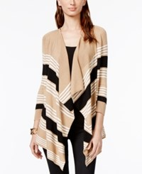 Cable And Gauge Striped Open Front Cozy Sweater