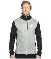 Nike Advantage 15 Full Zip Fleece Hoodie Dark Grey Heather Black Black White Men's Clothing Gray