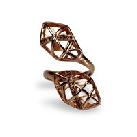 Bellus Domina Citrine And Rose Gold Geometric Ring