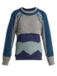 Craig Green Crochet Panelled Cotton Sweater Blue Multi