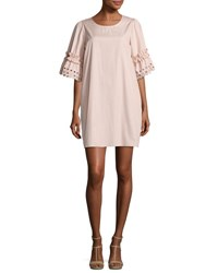 See By Chloe Eyelet Sleeve Cotton Shift Dress Blush