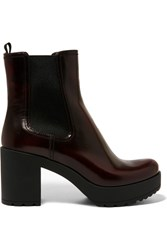 Prada Glossed Leather Platform Chelsea Boots Burgundy