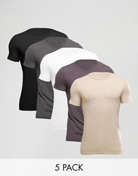 Asos 5 Pack Extreme Muscle T Shirt With Crew Neck Save Multi