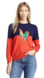 Demy Lee Demylee X Claire V Le Coq Sweater Navy And Red W Rooster