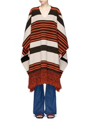 Chloe Fringe Hem Stripe Poncho Multi Colour