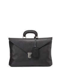 Giorgio Armani Saffiano Leather Briefcase Black
