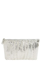 Whiting And Davis Shirred Mesh Pouch Clutch Metallic Silver