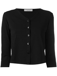 D.Exterior Three Quarters Sleeve Cropped Cardigan Women Polyester Viscose M Black