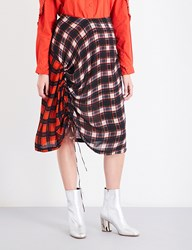 Preen Line Vivian Check Print Crepe Skirt Blue Plaid Red Plaid
