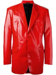 Moschino Vintage Faux Leather Blazer Red