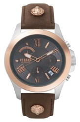 Versus By Versace Lion Chronograph Leather Strap Watch 44Mm Grey Rose Gold Silver