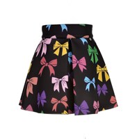 Love Made Love Black Neoprene Skirt With Color Bows