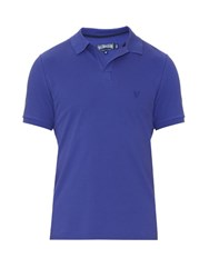 Vilebrequin Logo Embroidered Cotton Pique Polo Shirt Blue