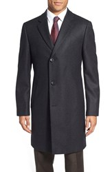 Men's Big And Tall Nordstrom 'Sydney' Wool Twill Topcoat Charcoal