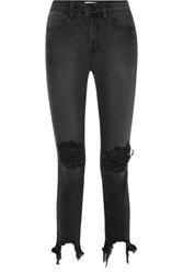 L'agence The High Line Cropped Distressed Skinny Jeans Black