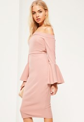 Missguided Pink Bardot Frill Sleeve Tailored Midi Dress Mauve
