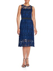 Eci Floral Laced Dress Navy Black