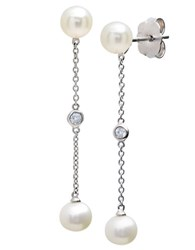 Crislu Sterling Silver Pearl And Crystal Drop Earrings
