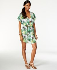 Miken Smocked Palm Print Cover Up Women's Swimsuit