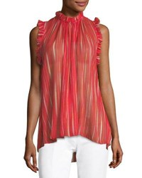 Elie Tahari Lucy Striped Silk Blouse Glossy Redgold