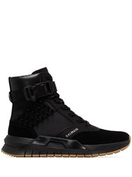 Balmain Black B Trooper Spiked Leather And Suede Sneakers 60