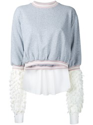 Anouki Flower Lace Sleeves Sweatshirt Women Cotton Polyester 38 Grey