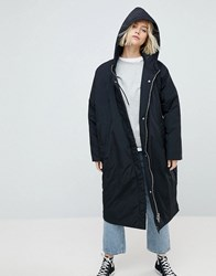 Weekday Longline Parka With Side Popper Detail Black