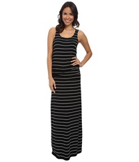 Hatley Maxi Dress Black White Stripes Women's Dress Multi