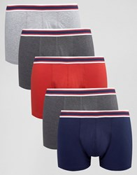 Asos Trunks With Striped Waistband 5 Pack Multi