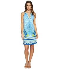 Hale Bob Graphic Jungle Microfiber Jersey Sleeveless Dress Blue Women's Dress