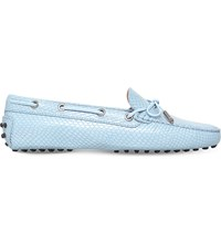 Tod's Gommino Heaven Reptile Print Leather Driving Shoes Pale Blue