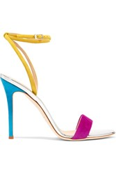 Giuseppe Zanotti Mirrored Leather Trimmed Suede Sandals Fuchsia