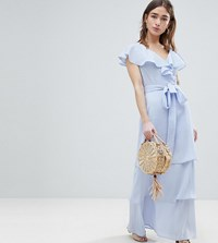 Lost Ink Petite Maxi Dress With Tiered Ruffle Skirt Light Blue