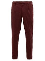 Incotex Plaid Brushed Cotton Blend Twill Trousers Burgundy