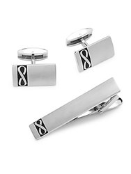 Saks Fifth Avenue Infinity Tie Bar And Cuff Links Set Of 3 Silver