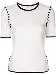 Thom Browne Tipping Striped Bridal Button Tee In Fine Merino Wool White