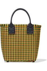 Truss Woman Small Leather Trimmed Woven Raffia Effect Tote Yellow