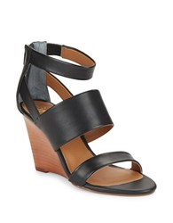 Seychelles Suave Leather Stacked Wedge Sandals Black