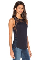 David Lerner High Low Lace Tank Navy