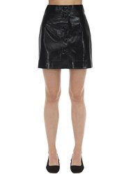 George Keburia Heart Button Faux Leather Mini Skirt Black